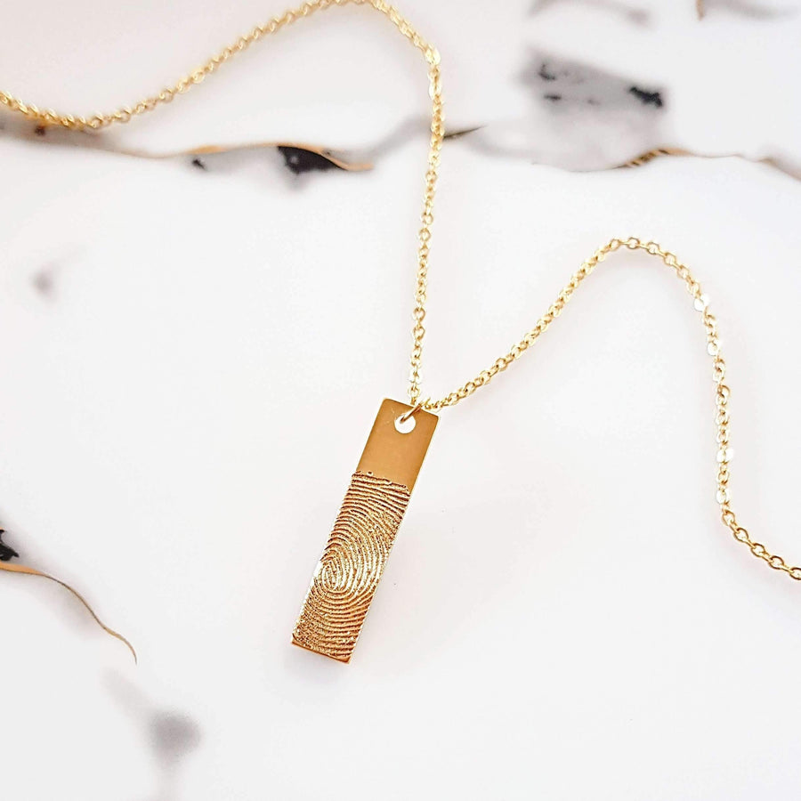 Real Fingerprint Vertical Bar NecklaceTSH Jewelry