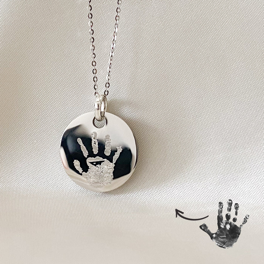 Handprint Disc Necklace