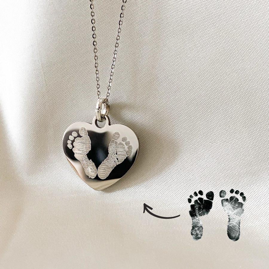 Footprint Heart Necklace