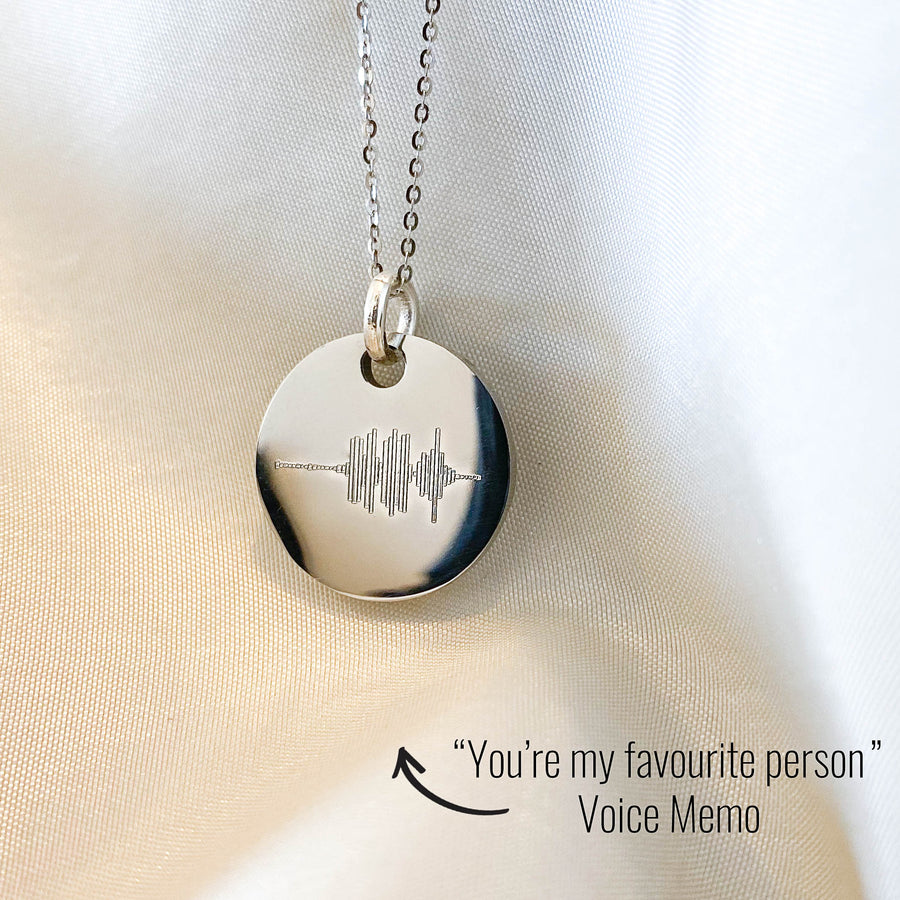 Soundwave Voice Memo Disc Necklace