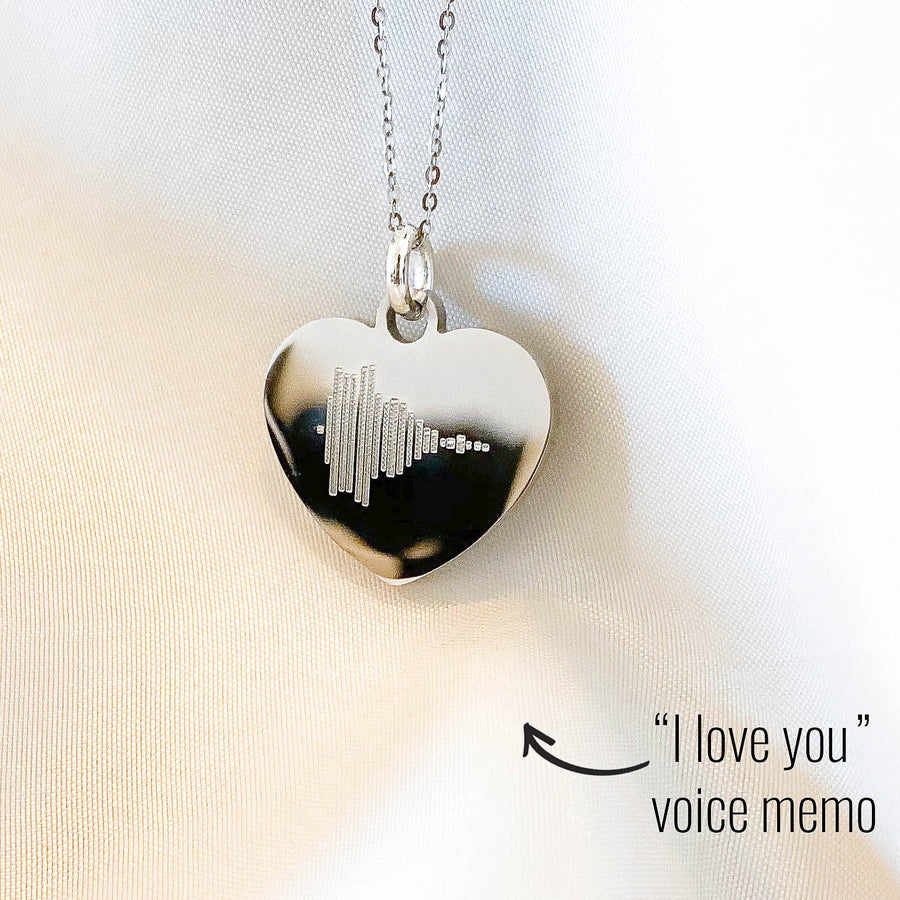 Soundwave Voice Memo Heart Necklace