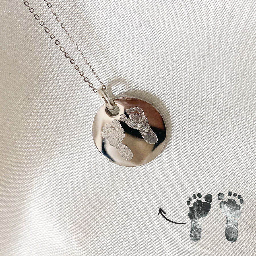 Footprint Disc Necklace