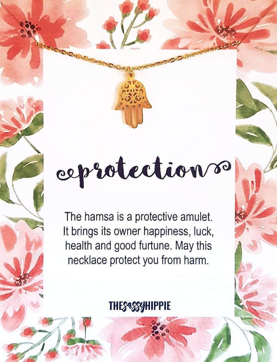 Hamsa Protection Necklace with CardTSH Jewelry