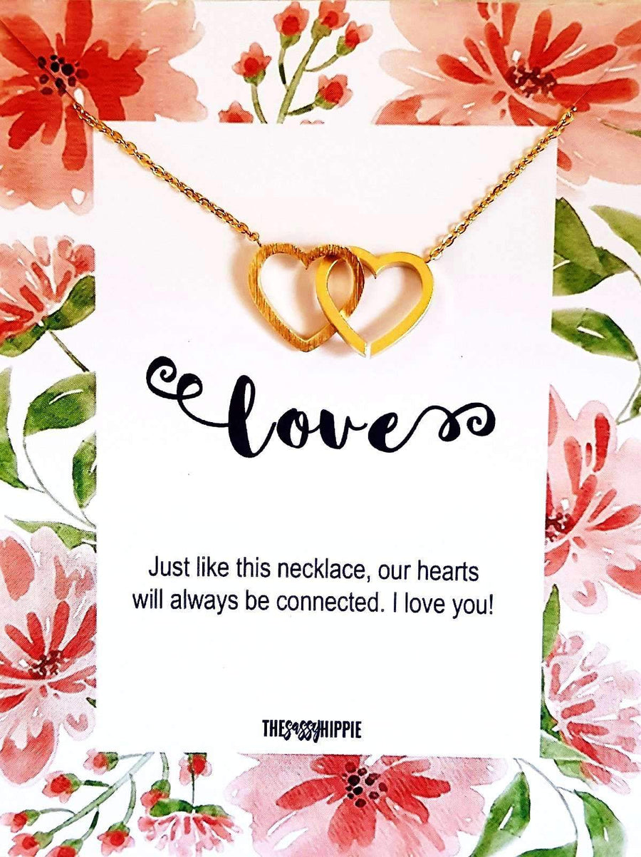 Love Double Heart Necklace with CardTSH Jewelry