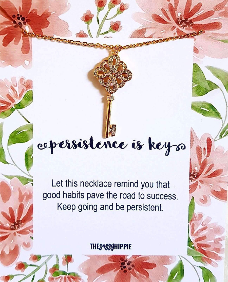 Persistence is Key Necklace with CardTSH Jewelry