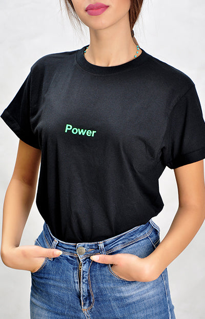 Black Power Shirt - Green Neon