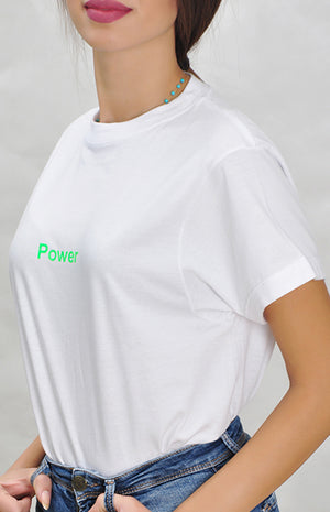 White Power Shirt - Green Neon
