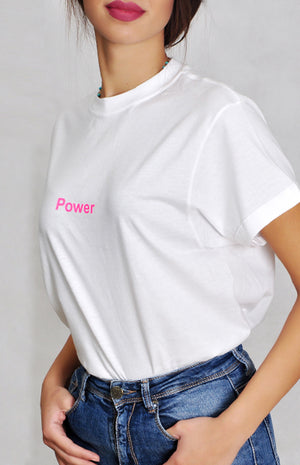 White Power Shirt - Pink Neon