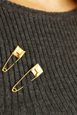 Gold-plated safety pin earrings