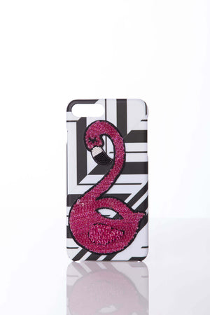 iPhone 7 Flamingos on Black & White cover