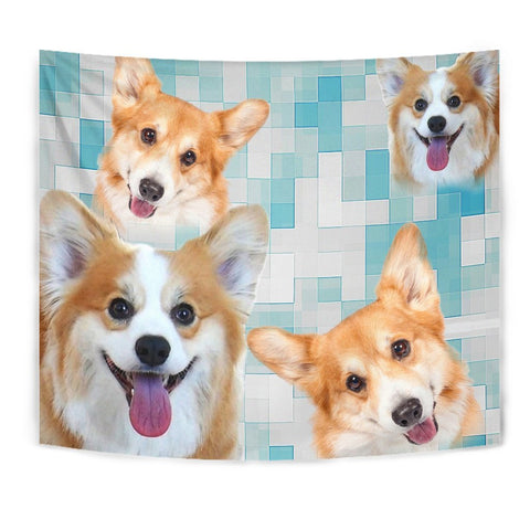 Pembroke Welsh Corgi On Blue Pattern Print Tapestry-Free Shipping
