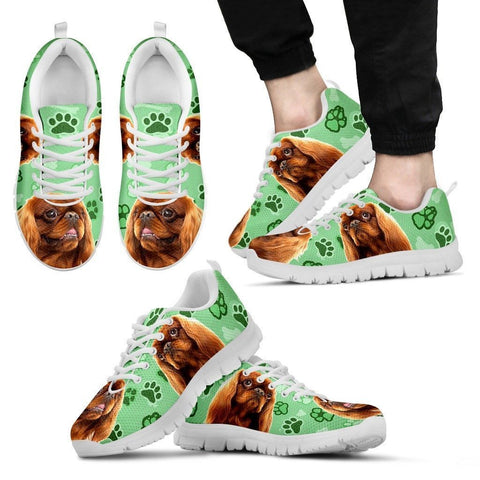 English Toy Spaniel Print (Black/White) Running Shoes For Men-Limited Edition-Express Delivery