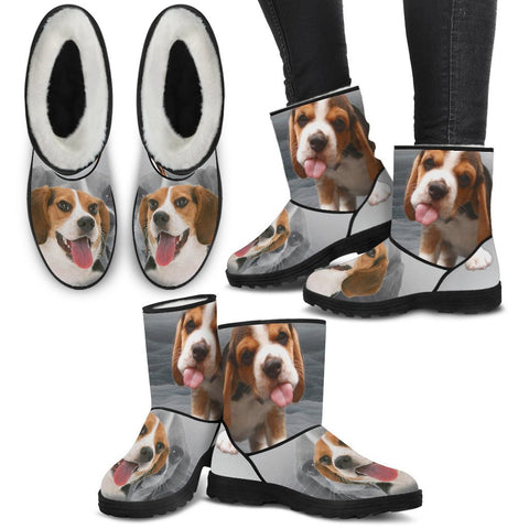 Beagle Print Faux Fur Boots For Women-Free Shipping