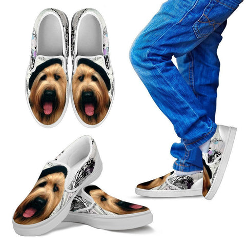 Briard Dog Print Slip Ons For Kids- Express Shipping