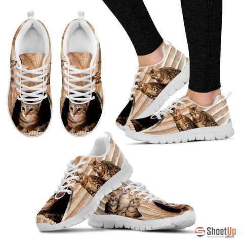 Sokoke Cat Print (White/Black) Running Shoes For Women-Free Shipping