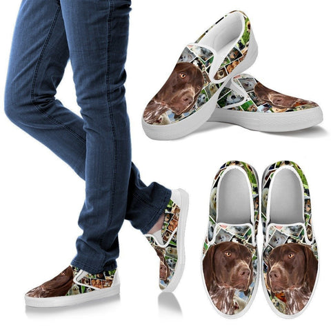 Amazing German Shorthaired Pointer Dog Print Slip Ons For Women-Express Shipping