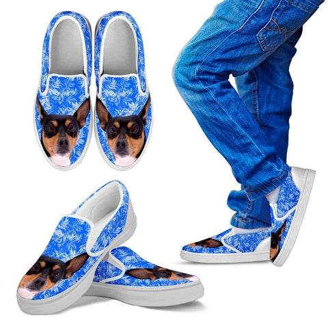 Toy Fox Terrier Dog Print Slip Ons For Kids-Express Shipping