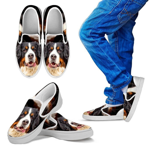 Bernese Mountain Print Slip Ons For Kids- Express Shipping