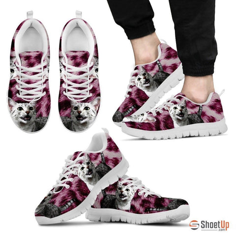Egyptian Mau Cat Print (Black/White) Running Shoes For Men-Free Shipping Limited Edition