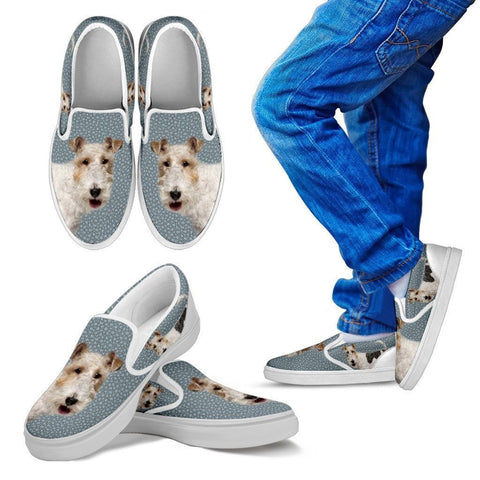 Wire Hair Fox Terrier Print Slip Ons For Kids-Express Shipping