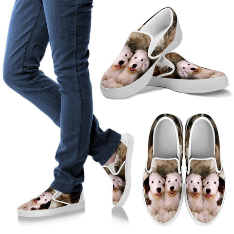 Old English Sheepdog Print Slip Ons For Women- Express Shipping