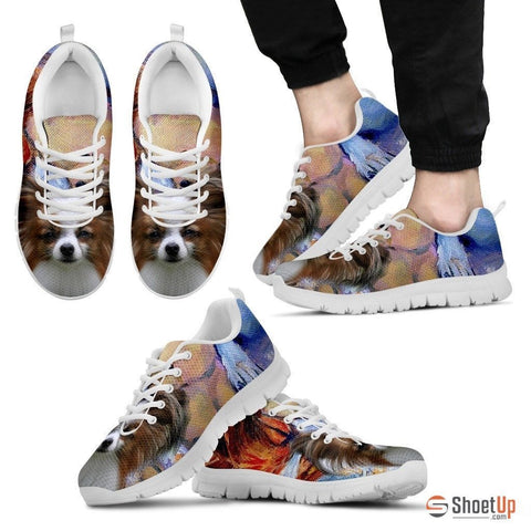 Papillon Dog Print Running Shoe For Men- Free Shipping