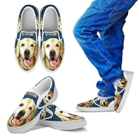 Cartoonize Golden Retriever Print-Kid's Slip Ons-Free Shipping