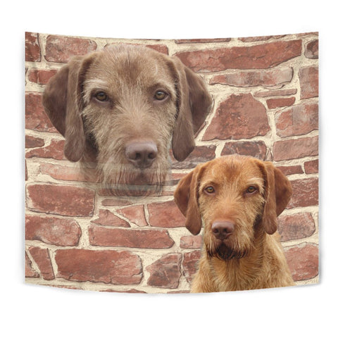 Wirehaired Vizsla On Wall Print Tapestry-Free Shipping