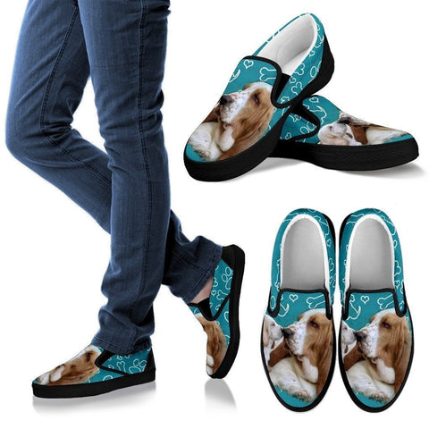 Lemon Basset Hound-Dog Slip Ons Shoes For Women-Free Shipping