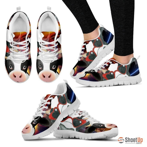Cow Toon Print Running Shoe Women- Free Shipping