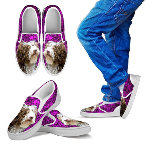 Spanish Water Dog Print Slip Ons For Kids-Express Shipping