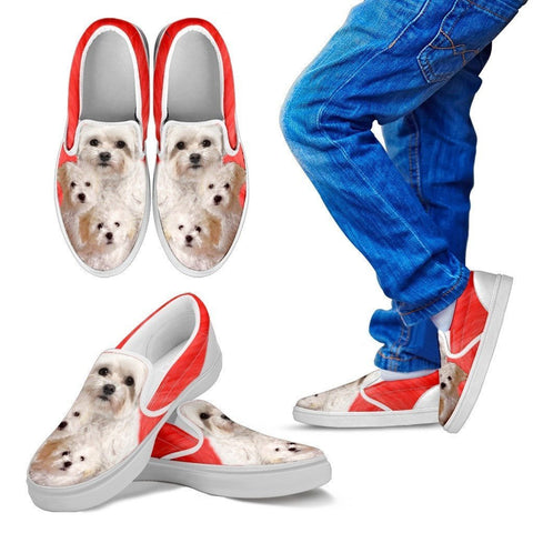 Bolognese Dog Print Slip Ons For Kids- Express Shipping
