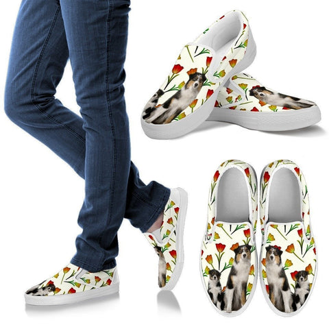 Australian Shepherd Dog Print Slip Ons For Women-Express Shipping