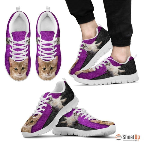 Somali Cat Print Sneakers With Purple Background For Men- Free Shipping