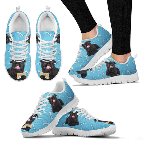 Black Brussels Griffon (Griffon Bruxellois)  Dog Bone Print Running Shoes For Women-Free Shipping