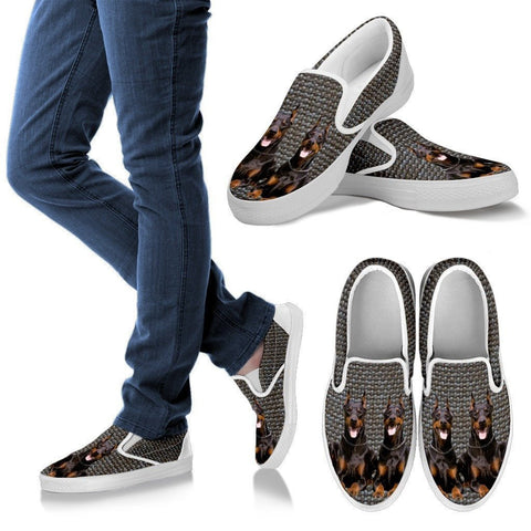 Doberman Pinscher Dog Print Slip Ons For Women-Express Shipping