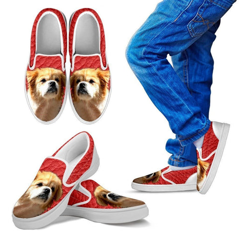 Tibetan Spaniel Print-Slip Ons For Kids-Express Shipping