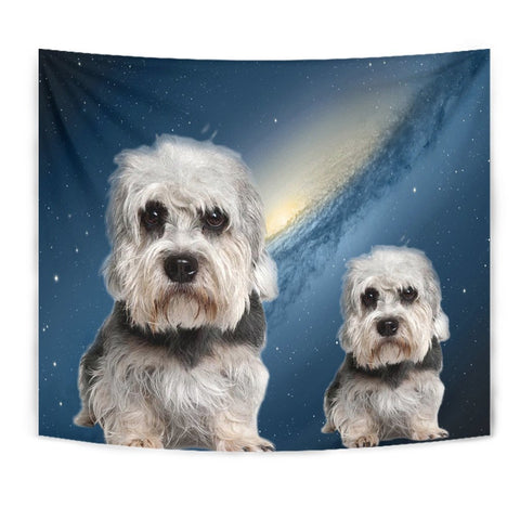 Dandie Dinmont Terrier On Blue Print Tapestry-Free Shipping