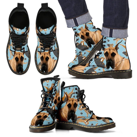 Great Dane Print Boots For Men-Express Shipping