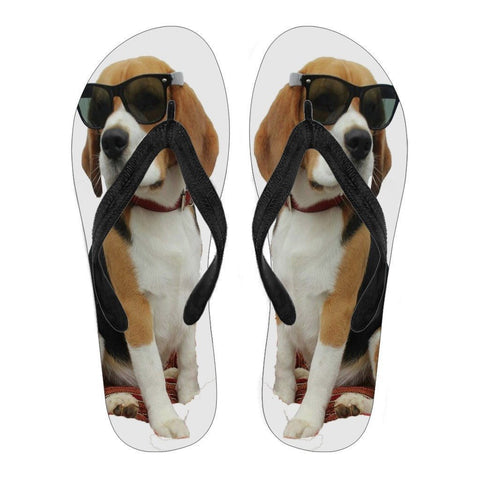 Beagle Print Flip Flops For Men- Free Shipping
