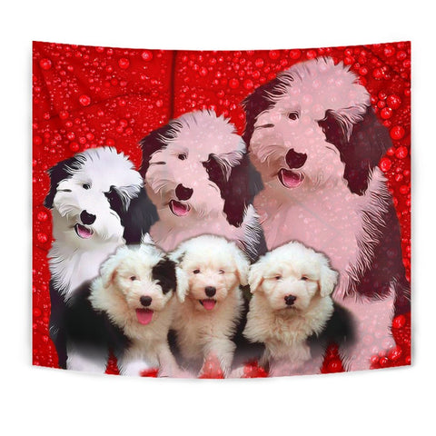 Old English Sheepdog On Red Print Tapestry-Free Shipping