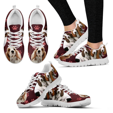 Paws Print Basset Hound (Black/White) Running Shoes For Women-Express Delivery
