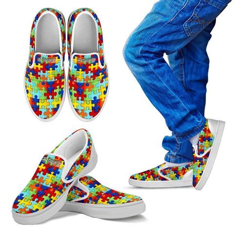 Autism Symbol Slip Ons For Kids- Free Shipping