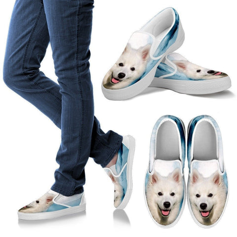 American Eskimo Print Slip Ons For Womens- Express Shipping