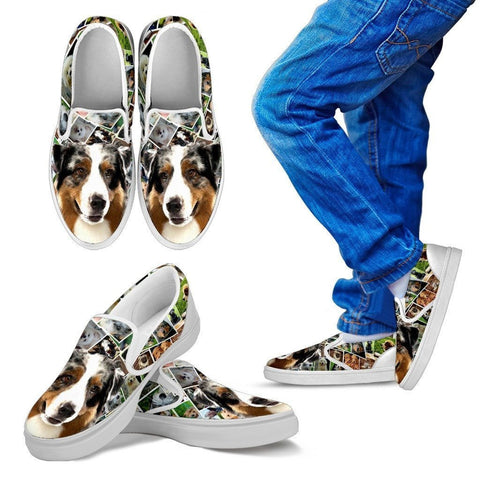 Amazing Australian Shepherd Dog Print Slip Ons For Kids-Express Shipping