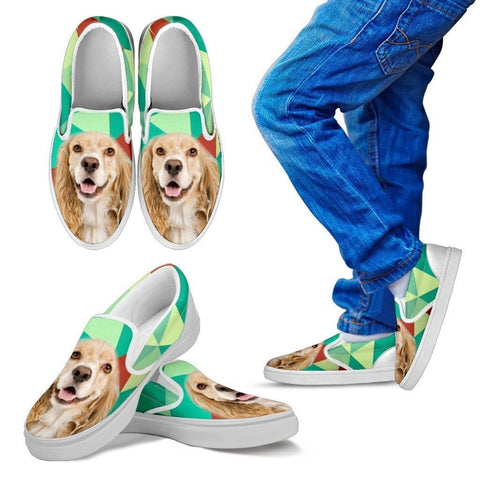 Cocker Spaniel Print Slip Ons For Kids-Express Shipping