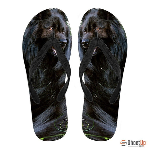 Belgian Sheepdog Flip Flops For Women- Free Shipping