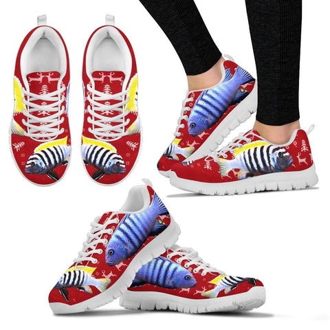 Cynotilapia Afra (Afra Cichlid) Fish Print Christmas Running Shoes For Women- Free Shipping