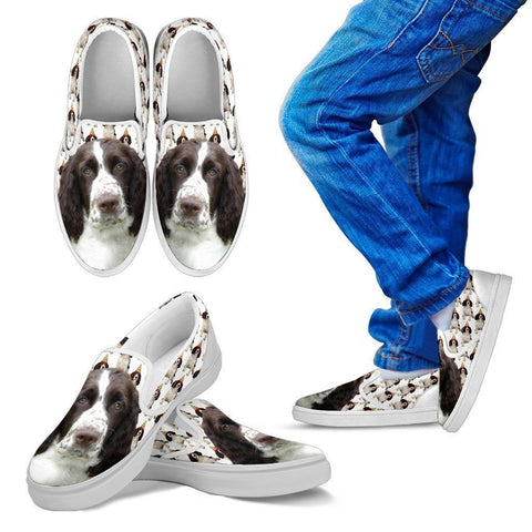 English Springer Spaniel Print Slip Ons For Kids- Express Shipping