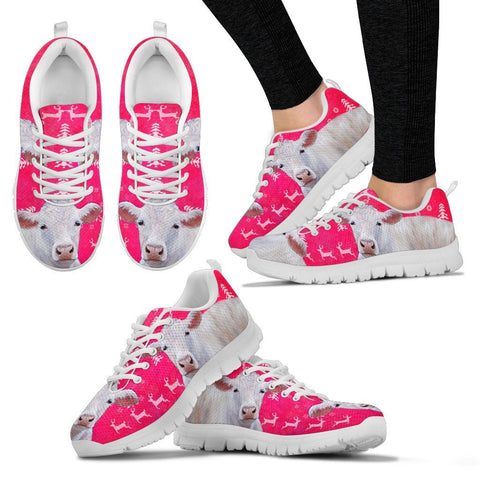 Charolais Cattle Cow Christmas Running Shoes For Women- Free Shipping